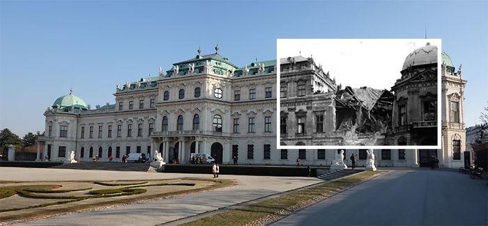 Belvedere Palace 1945 vs. 2015