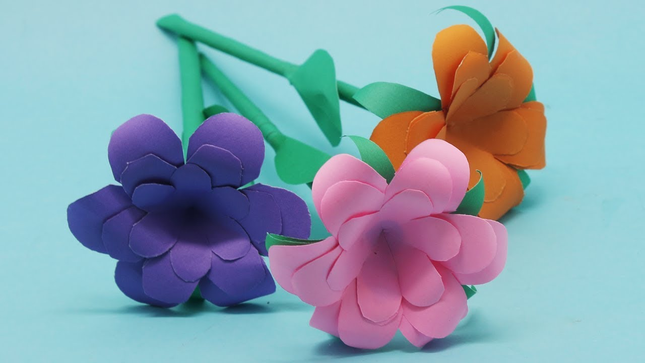 How To Make Easy DIY Colorful Paper Stick Flower | Stick Flowers Ideas Step By Step!