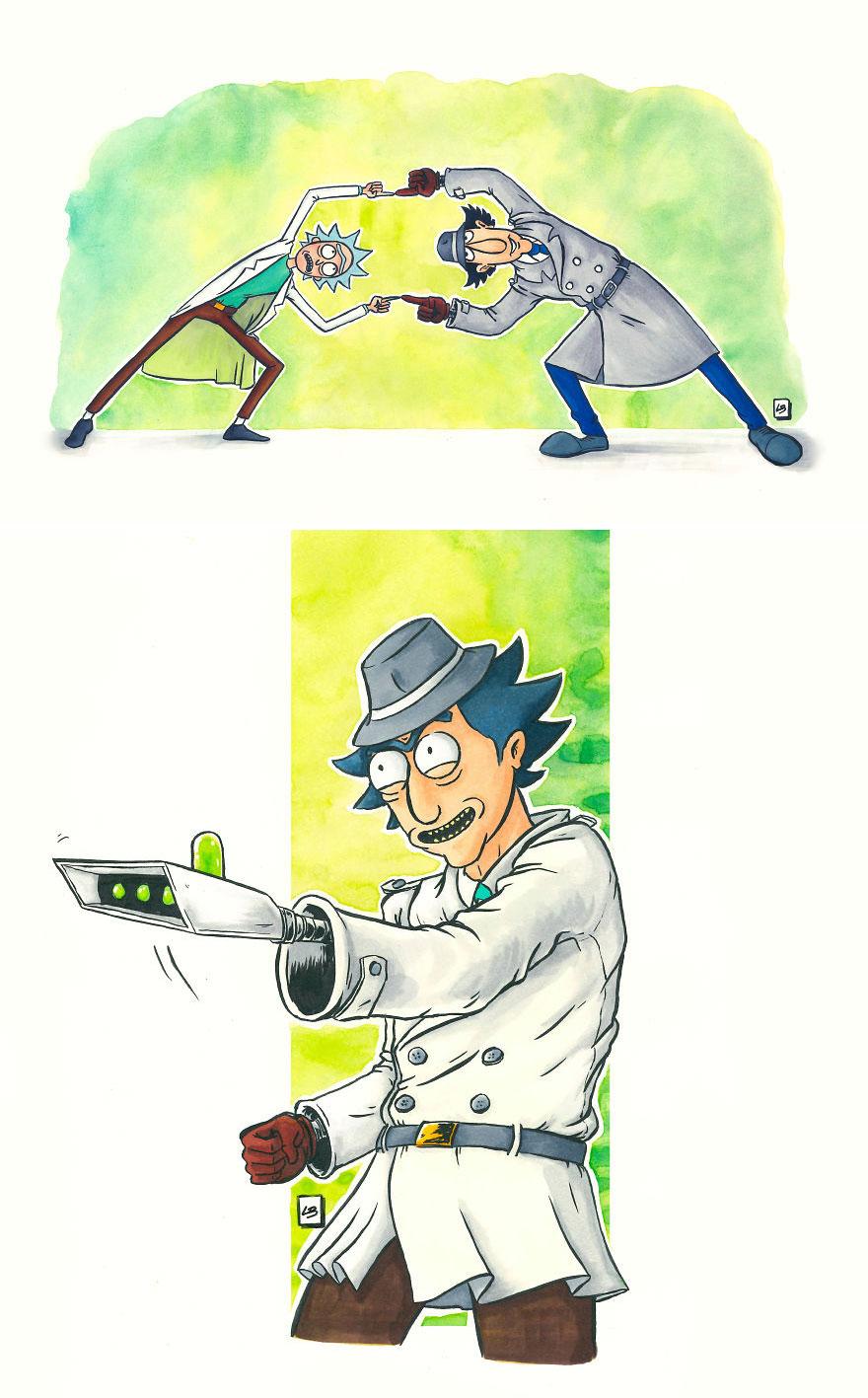 Rick Sanchez x Inspector Gadget