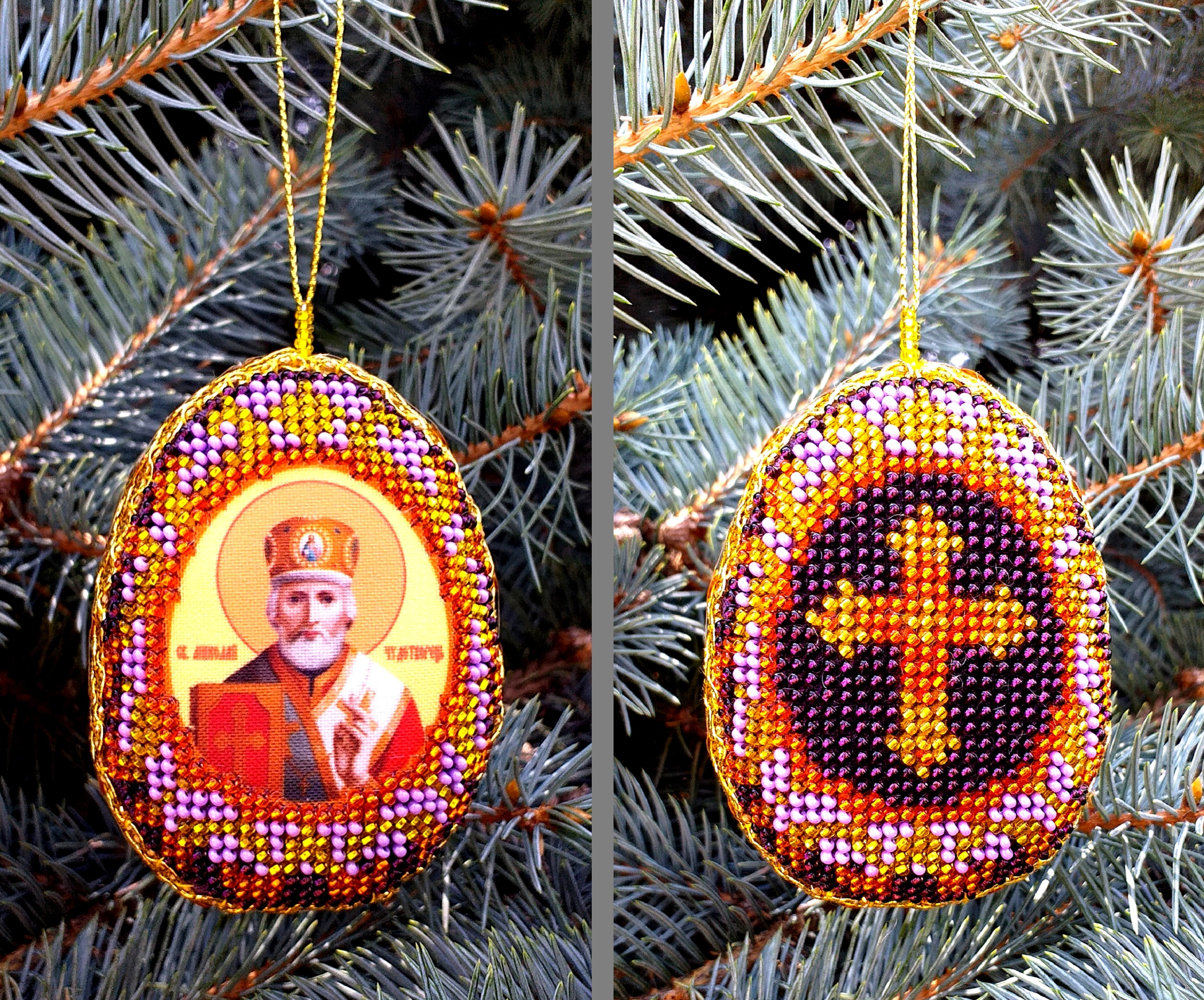Saint Nicholas Embroidery. Beaded Christmas Ornament Gift.