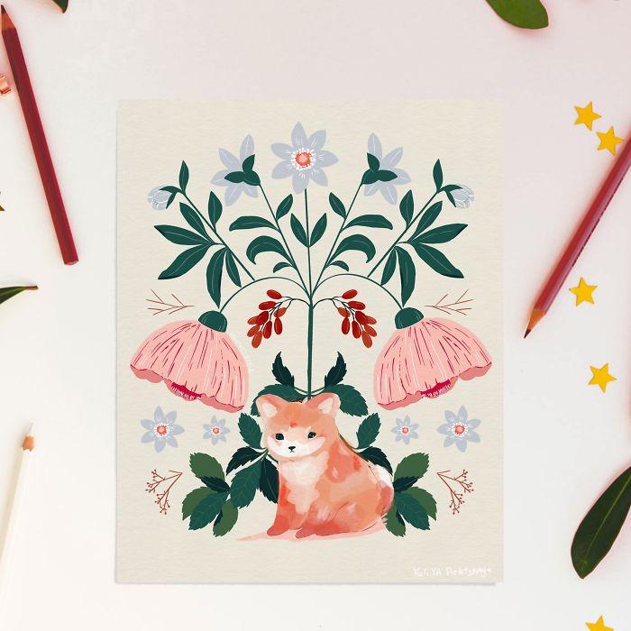 Shiba In Flowers
