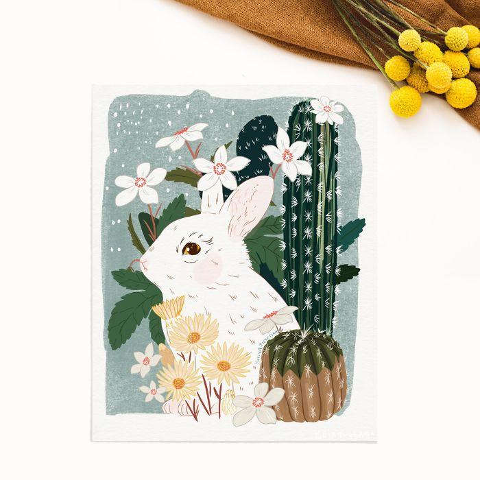 White Bunny In Cacti