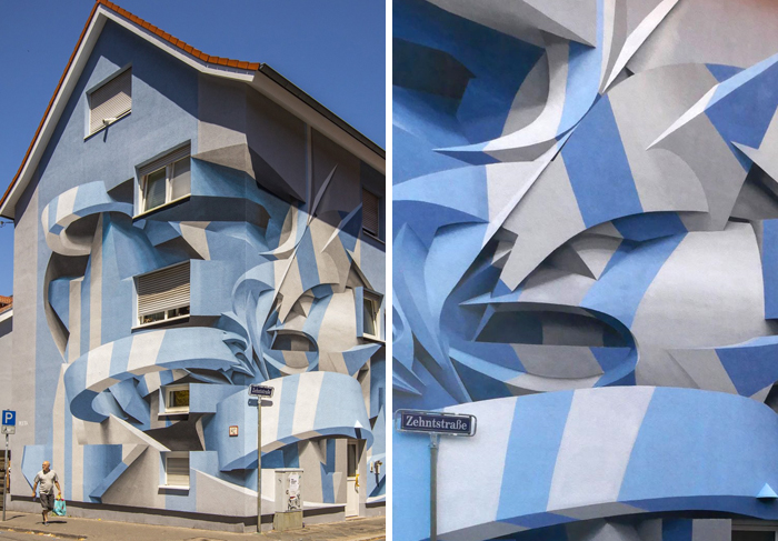 This Graffiti Artist Stuns Passerby With His 3D-Looking Abstract Drawings