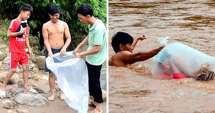 Estos estudiantes de un pueblo de Vietnam tienen que cruzar el río en bolsas de plástico para llegar al colegio