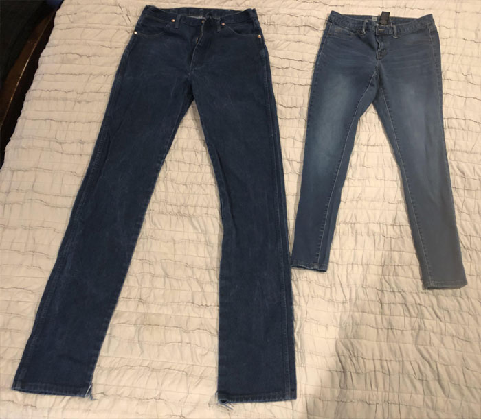 "My Jeans vs. My Wife's Jeans. I'm 6' 3""and She's 5' 2"""