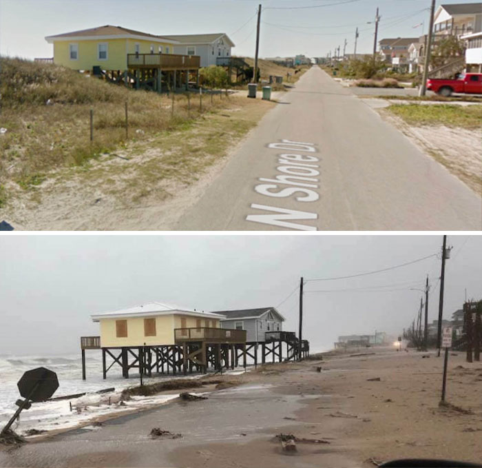Before And After Comparison Pics Of A Street In Surf City, NC After Florence
