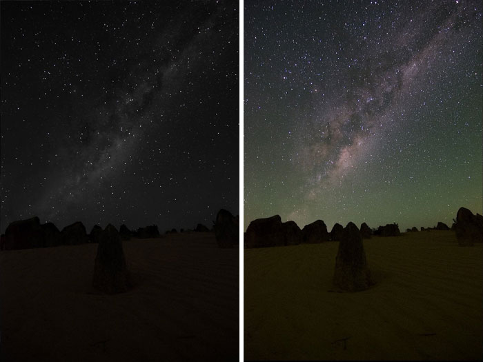 "Whenever Somebody Posts A Photo Of The Milky Way, People Invariably Ask ""Is That How You See It With The Naked Eye?"". Here's A Representation Of What You Do See Compared To What Comes Out Of The Camera"