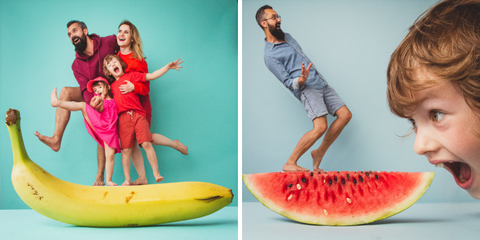We Took Fun Pics Of Our Family With Giant Tropical Fruits (No Photoshop)