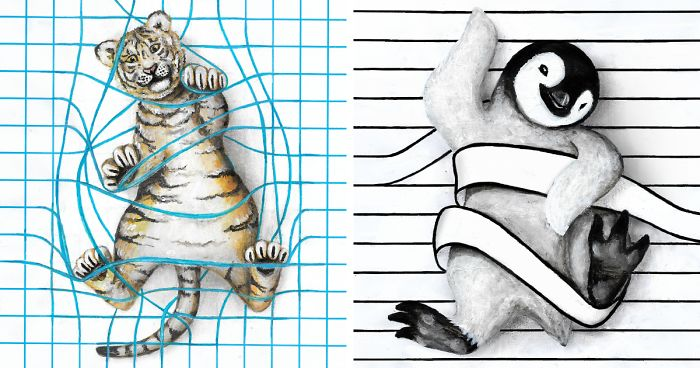 My 8 Animal Drawings On Lined, Dotted, And Graph Paper Are Made To Look Like They Are 'Playing' On The Page