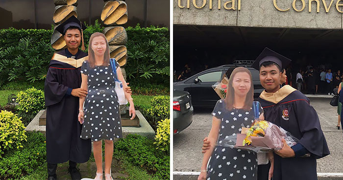Filipino Student Takes A Cardboard Cutout Of His Late Mother To A Graduation Ceremony