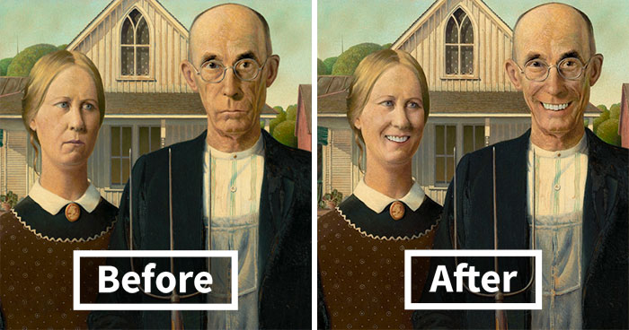 Most Famous Paintings Are Sad, So We Wanted To See What They Would Look Like With Smiles (24 Pics)