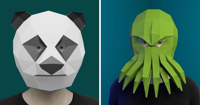 Make Panda Mask,DIY 3D mask,PDF,Pattern mask,Polygon Paper Mask ... | 368x700