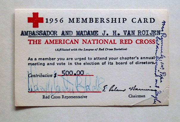 Ambassador And Madame J. H. Van Roijen Red Cross Membership Card From 1956