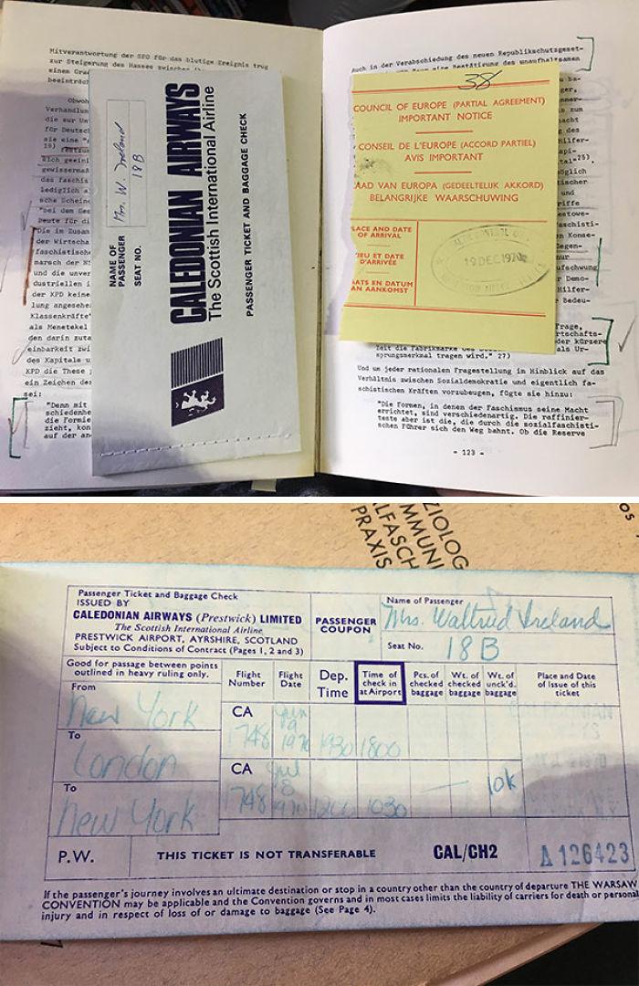 Un billete de avión de 1970