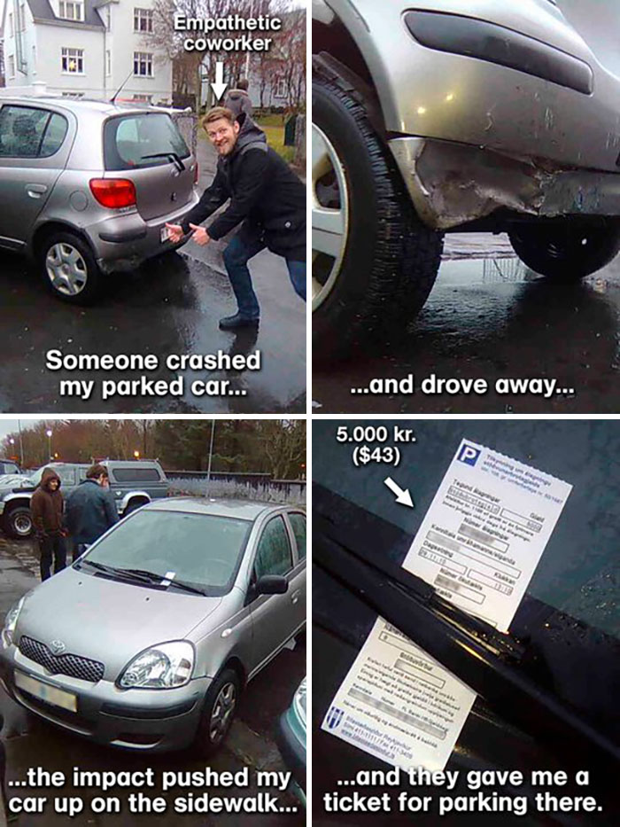 Crashed Car And A Parking Ticket