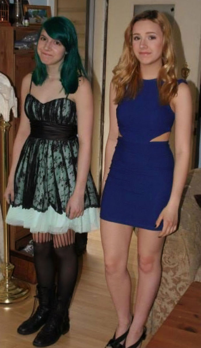 Me And My Twin Sister At Sophomore Formal, You Can Guess Which One Is Me