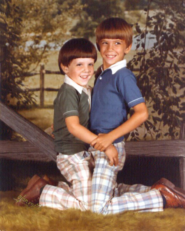 Uncomfortable Pose: Mortifying Photo Of Brothers In 1979 When They Were Four And Seven