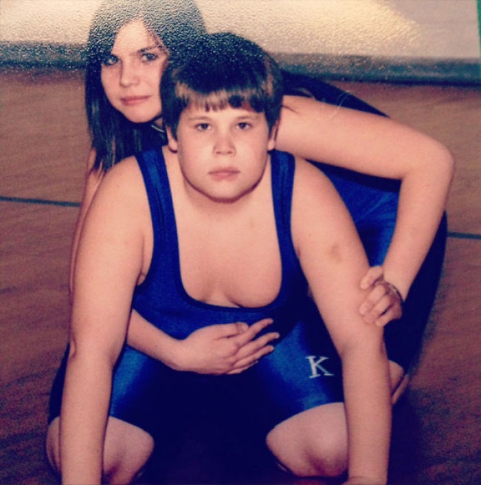 In Middle School, I Was The Only Girl On The Wrestling Team. My Brother Was On It As Well And To Save Money, We Decided To Take Our Picture Together. I Now Regret That Decision