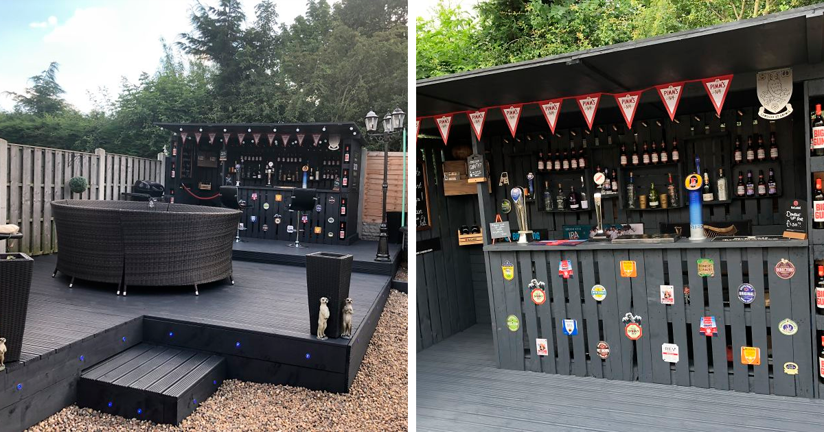 This Diy Pallet Bar In My Backyard Cost, How To Build An Outdoor Bar Out Of Pallets