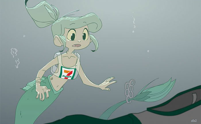 Artist Imagines A Little Mermaid Living In The XXI Century And It's Depressing