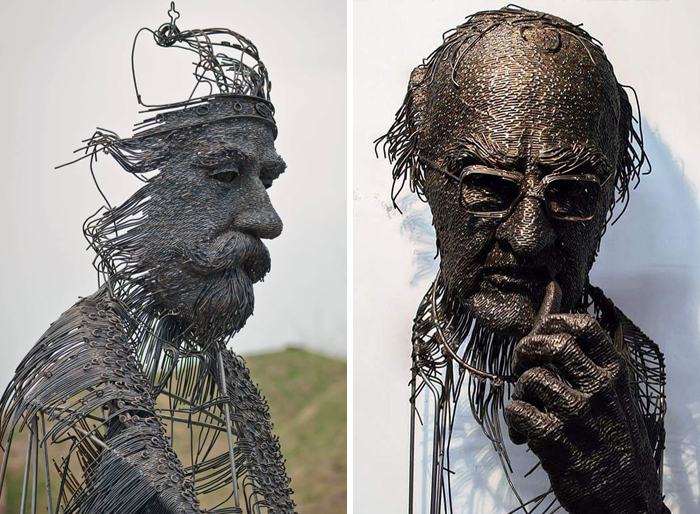 This Sculptor Bends Metal Wire Into Incredible Sculptures Of Historical Figures