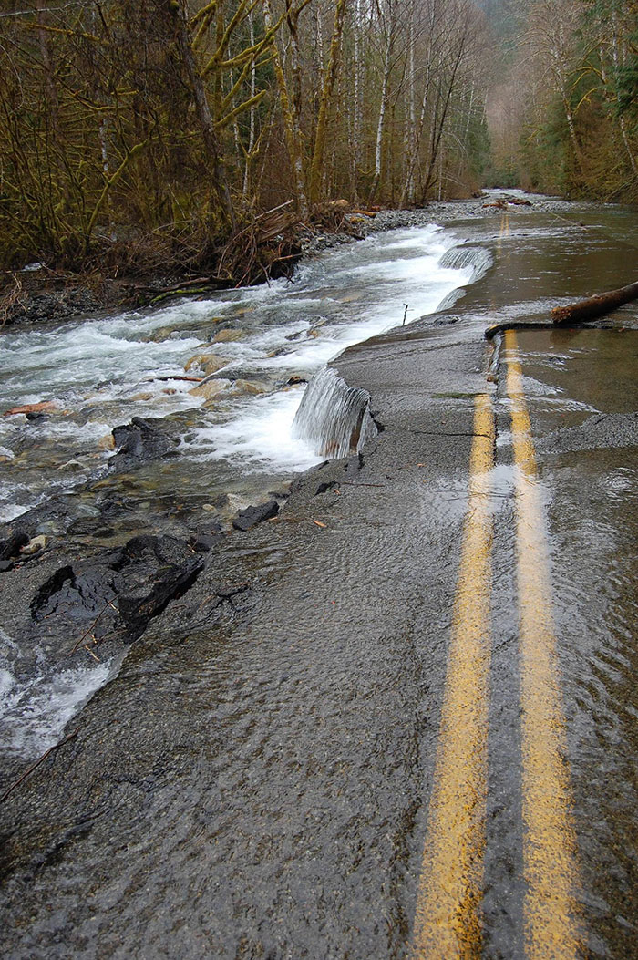 Road washed out by flood, WA state