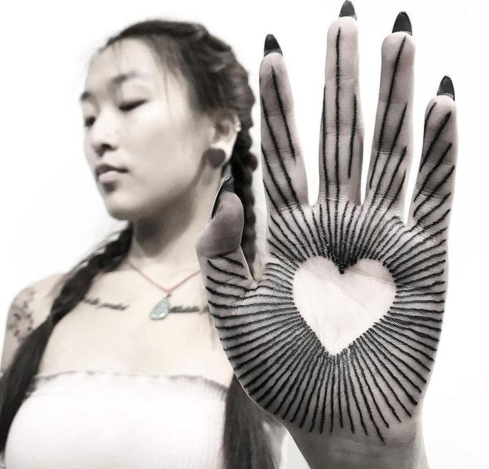 Dot-Work Palm Tattoo
