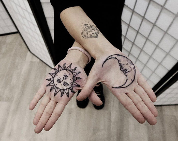 Moon And Sun Palm Tattoos