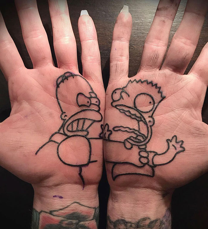 Palm Tattoo Inspired By The Simpsons