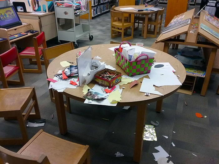 Parents Who Raise Their Kids Saying It's Okay To Leave A Library Like This