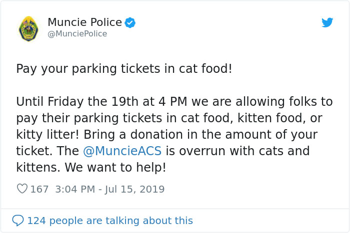 Indiana City Police Department Allows People To Pay Off Their Parking Tickets By Donating Cat Food