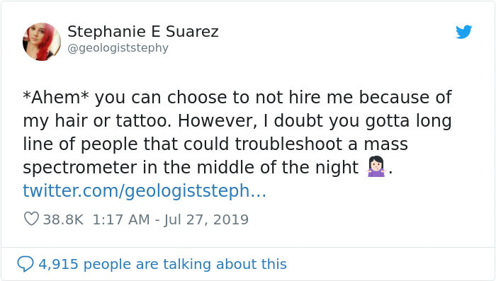 Engineer Calls This Scientist 'Unprofessional' Because Of Her Red Hair And Tattoos, She Bashes Him On Twitter