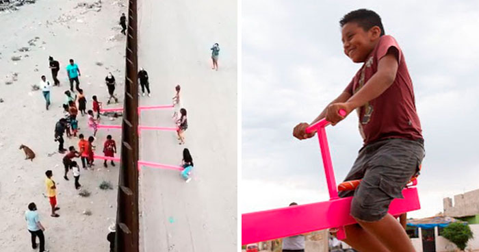 Children From The US And Mexico Play Together On These Seesaws Built On The Border Wall In Defiance Of Trump