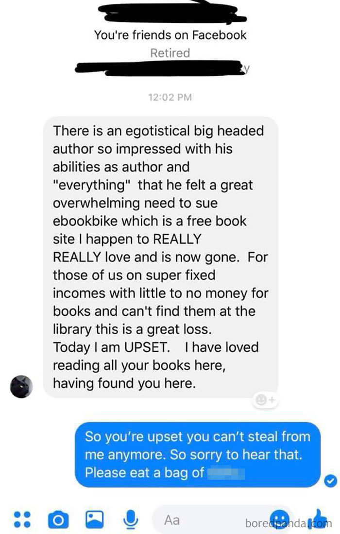 Woman Angry Book Pirating Site Is Being Sued, Complains To Author Whose Books She'd Been Stealing On Their Fan Page