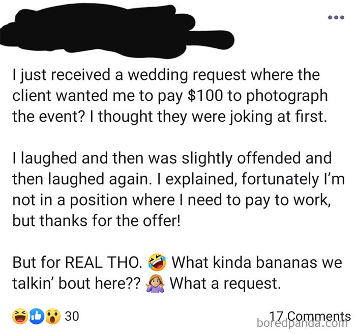 """Fortunately I'm Not In A Position Where I Need To Pay To Work"""