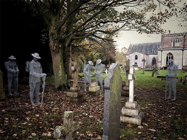 Ghost Sculptures Of Ww1 Soldiers Erected In An Old English Cemetery
