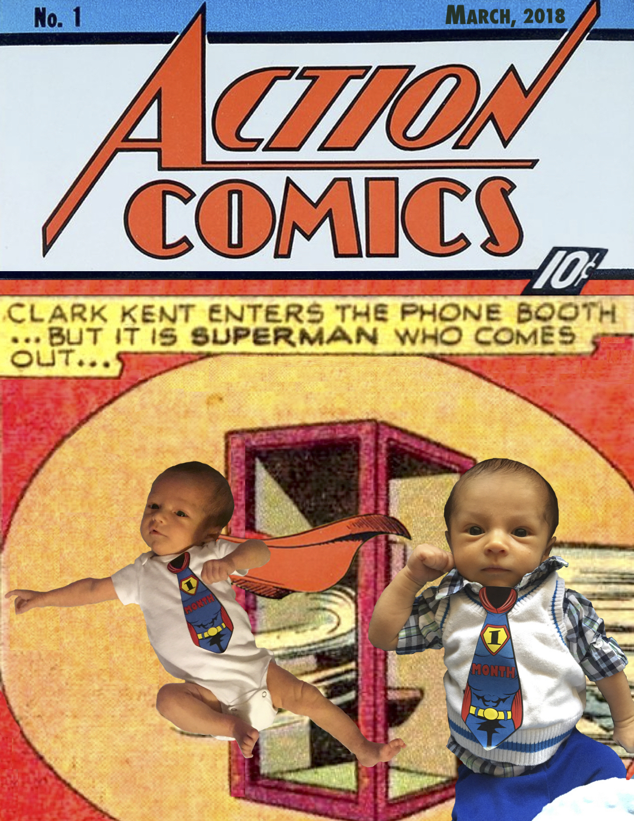 I Turned My Baby's Month-To-Month Progress Pictures Into Superhero Comic Book Covers.