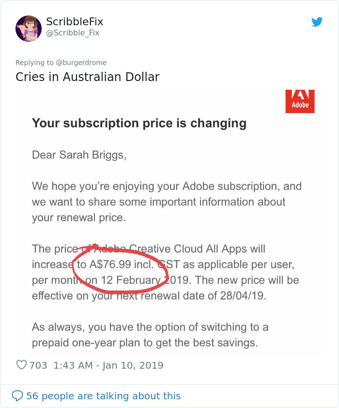 Adobe Says Subscription Expired