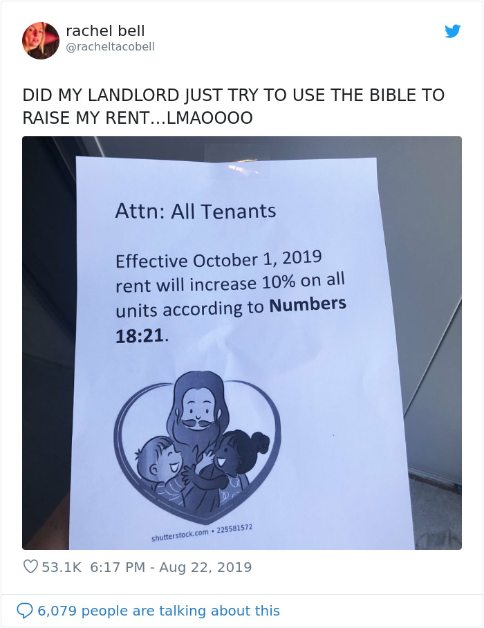 Landlord Tries To Raise Rent Using A Bible Quote, Tenant