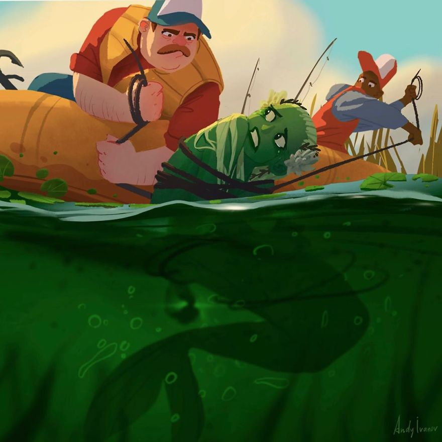 Artist Illustrated A Story About A Green Mermaid