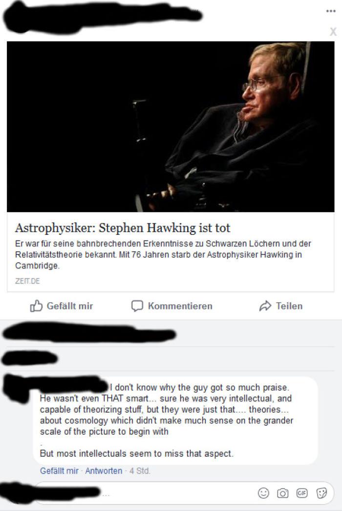 An Intellectual On Stephen Hawking's Death