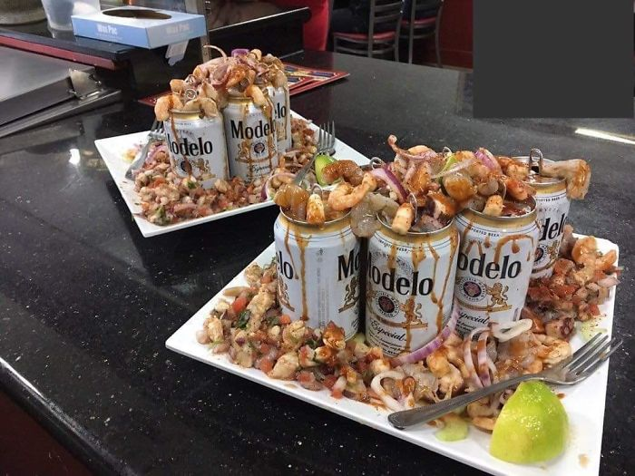 Just Go Ahead And Dump My Shrimp All Over Some Empty Beer Cans Please