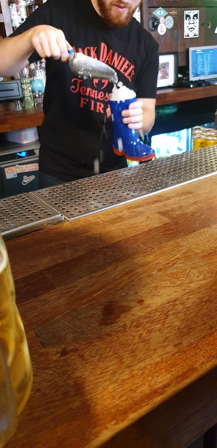 I Ordered A Cocktail And The Bartender Started Preparing It In A Friggin Child's Welly