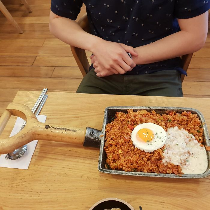 Fried Rice...in A Shovel For Some Stupid Reason.