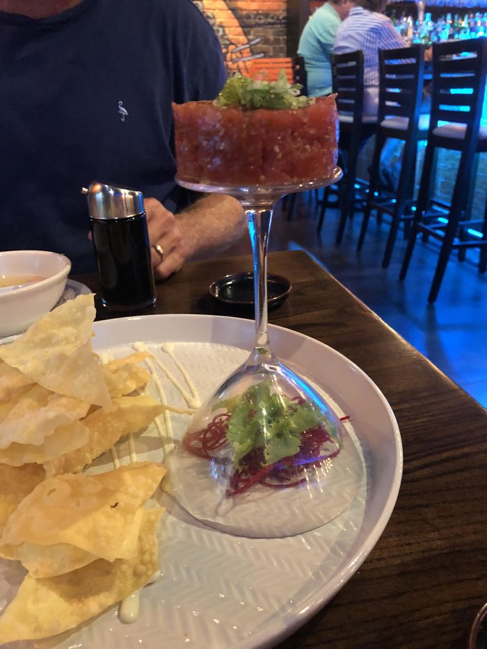 Tuna Served On An Upside Down Cocktail Glass... If Only There Were A More Stable Food Serving Object To Eat Off Of
