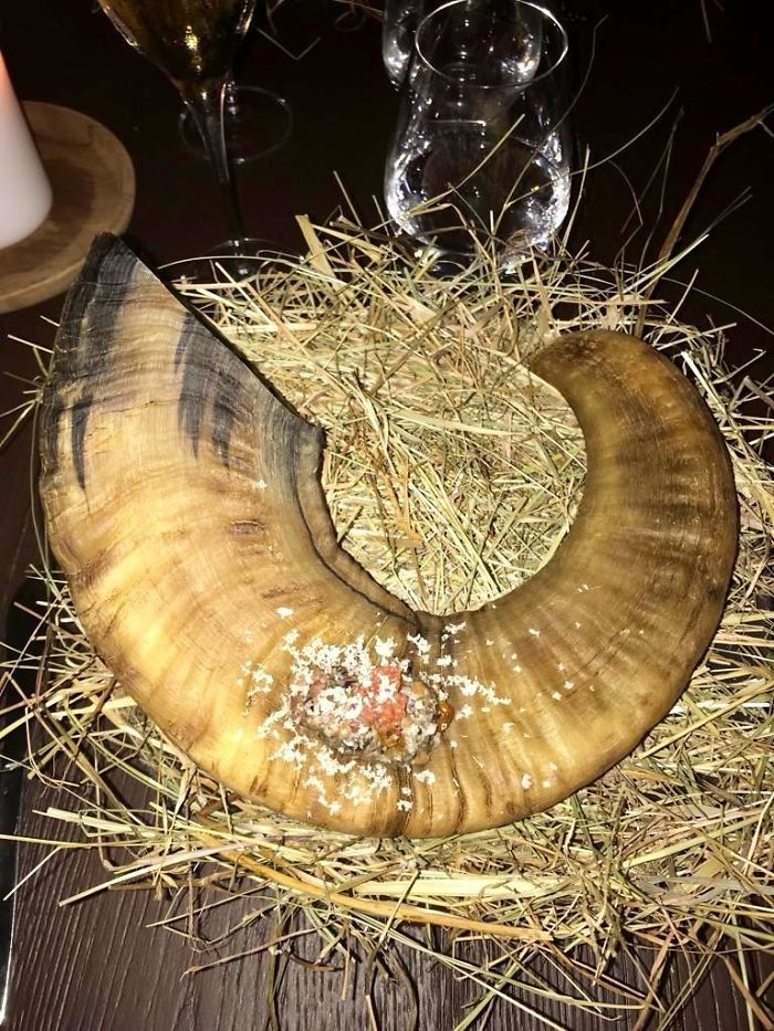 My Appetizer Served On A Goathorn And Straw...