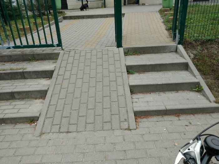 If You Choose To Go On The Left, On The Ramp, Because You Have A Bike Or Stroller, Then You Will Encounter A Step Later. But If You Choose Stairs Then You Will Encounter A Ramp After The Stairs