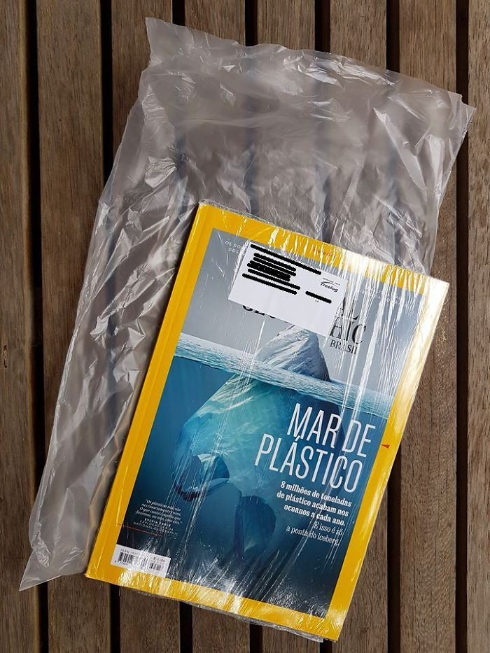 National Geographic Magazine Has Arrived. With An Alert About Excessive Use Of Plastic. It Comes In A Plastic Shrink. And Inside A Plastic Bag To Reinforce The Protection