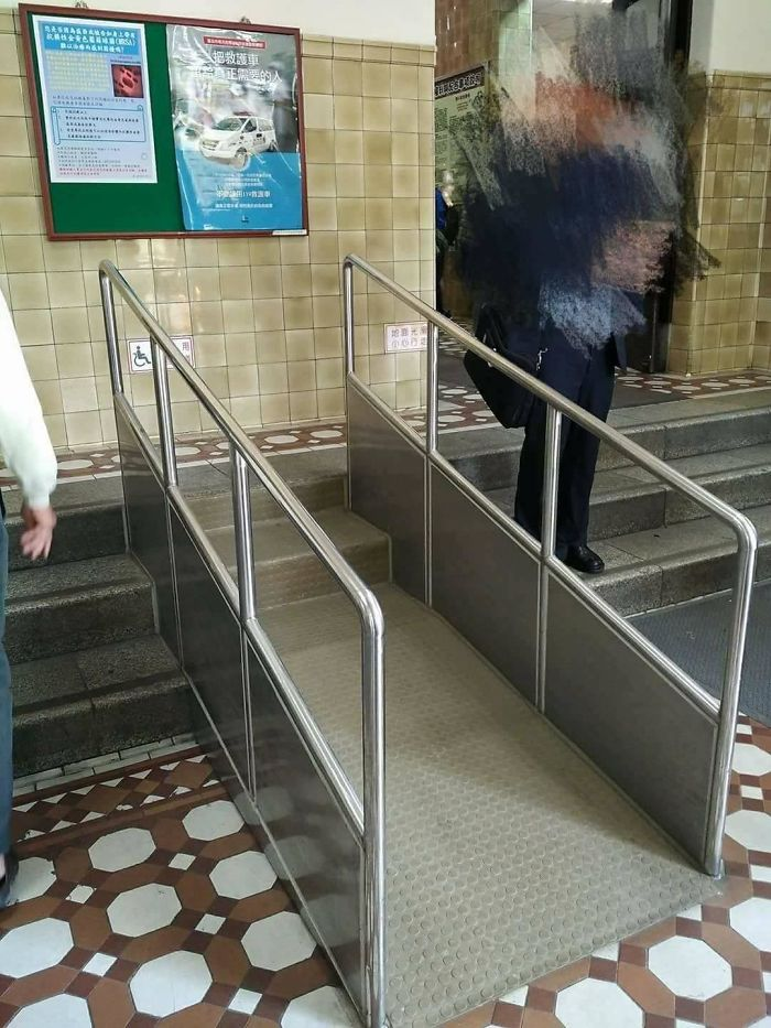 At Least Wheelchairs Can Reach The First Stair