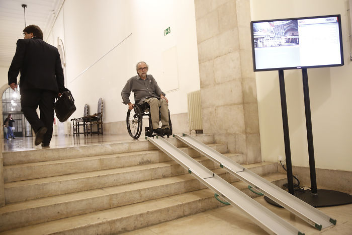 The Portuguese Parliament Had To Become Handicap Acessible Due To Having One Deputy On A Wheelchair. This Is The Result